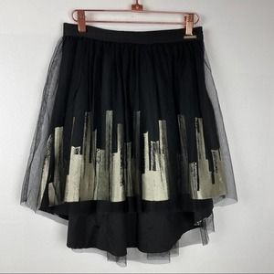 Sean John | Black Mini Cityscape Ballet Skirt